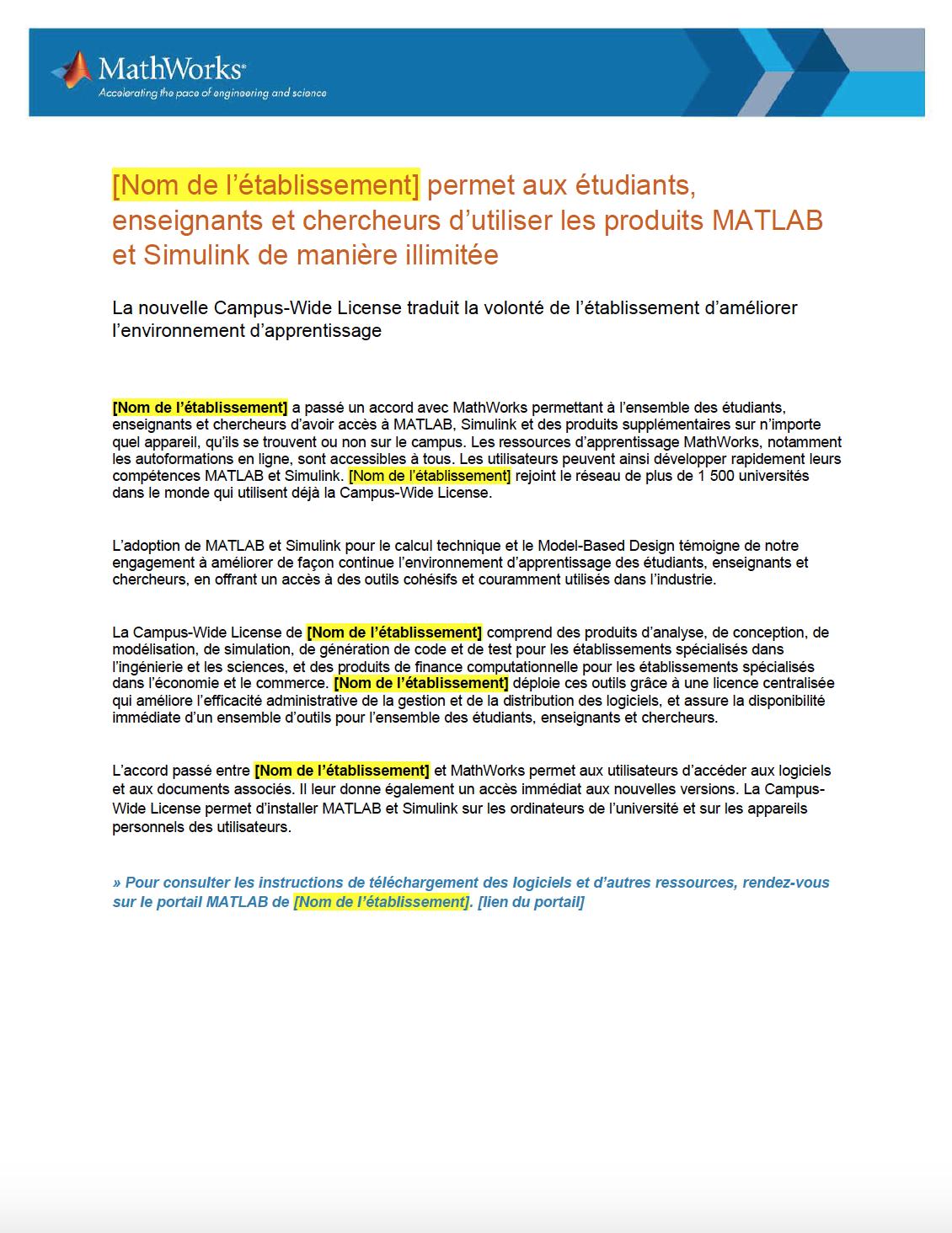 Communiqué de presse du Campus