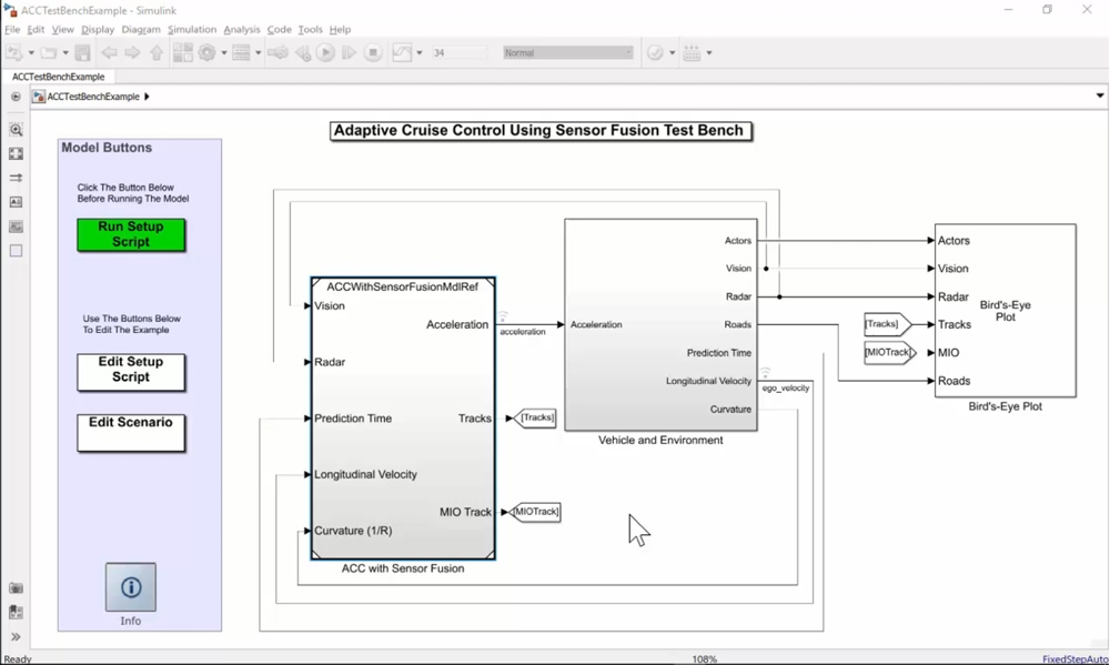 Figure 2. Simulink model of an adaptive cruise control system with sensor fusion.