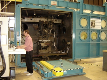 Figure 1a. The electron beam welder at the NASA Langley Research Center.