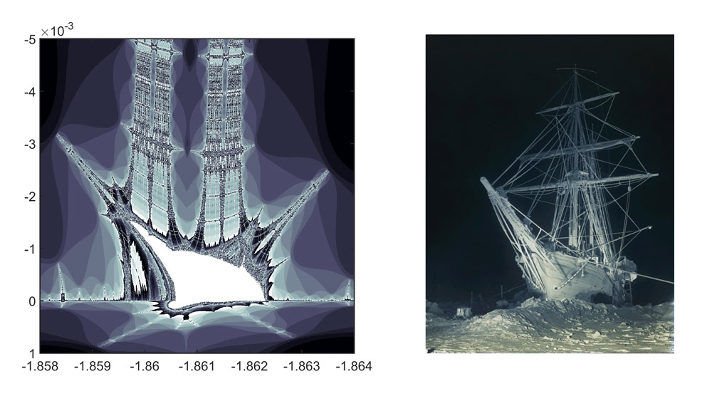Figure 5. Left: zoomed-in view of the Burning Ship's wake. Right: Hurley's 1915 photograph of Shackleton's ship frozen in ice in Antarctica.