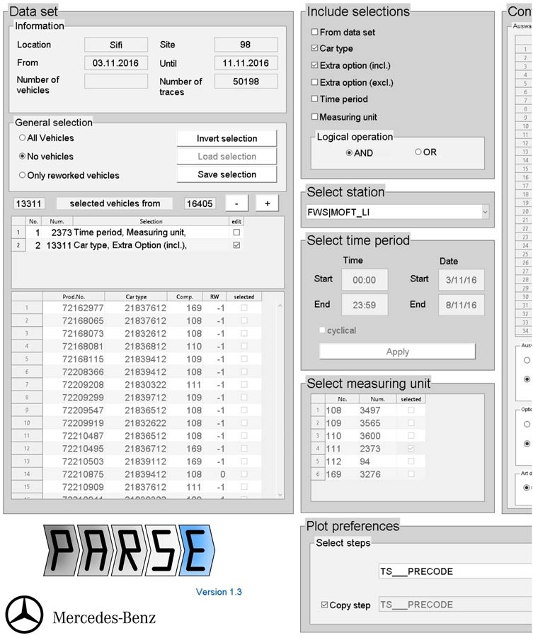 Figure 3.  PARSE application, developed in MATLAB, for processing, analyzing, and exploring test station data.