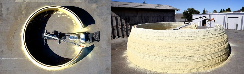 These images show MIT's robotic system 3D printing the external structure of a building.