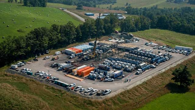 A well site using positive displacement pumps.