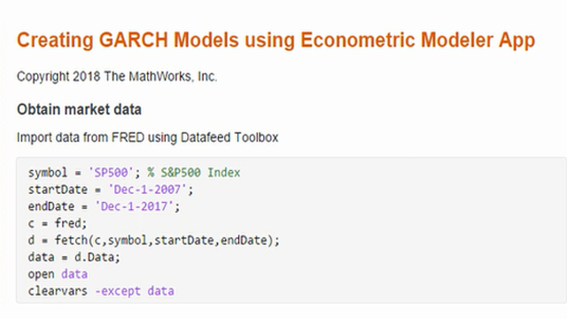 Learn how to create GARCH models for time series analysis using the Econometric Modeler app.