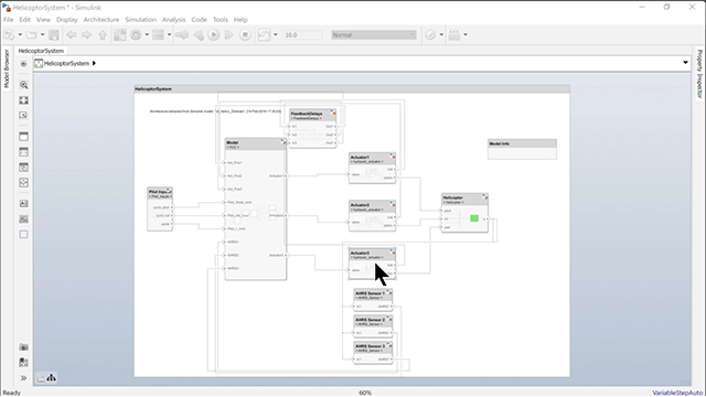 Create a composition in System Composer from a Simulink model with multiple subsystems.