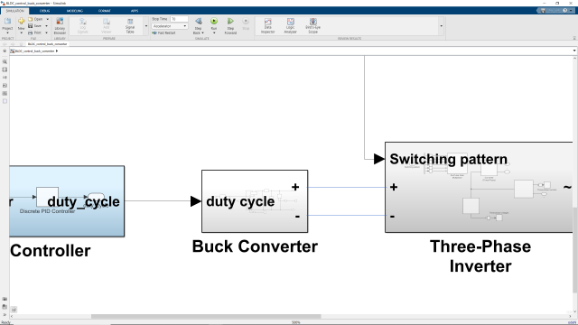 Learn how to model a PWM-controlled buck converter for controlling the speed of a BLDC motor.