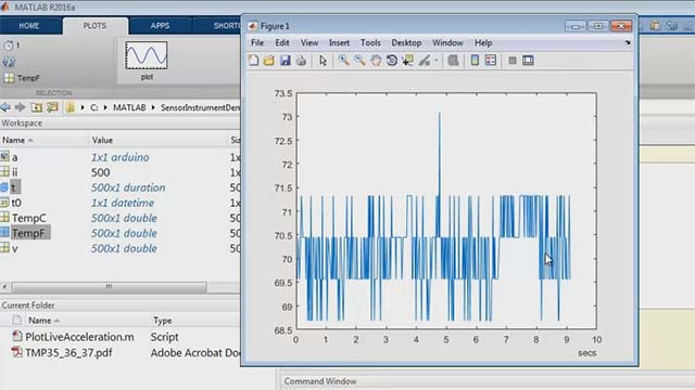 Read temperature data into MATLAB using an Arduino board without having to write any C code. Also, understand the limitations of low-cost hardware compared to higher-end solutions.