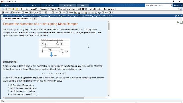 Use the MATLAB technical computing environment to encourage deeper learning engagements with students studying rigid body dynamics.