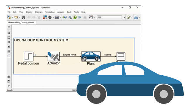 Watch a demonstration of a car to learn  how to use Simulink® to simulate open-loop systems, closed-loop systems, and disturbance rejection .