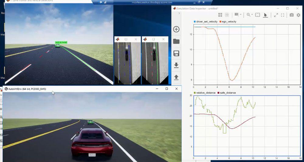 Application de contrôle de suivi de voie avec perception de caméra monoculaire, créée avec MATLAB et Simulink.