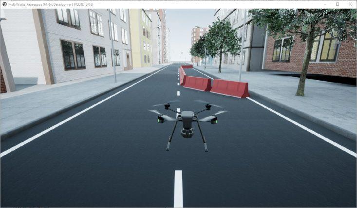 Figure2: Simulation drone haute-fidélité avec le bloc Simulation 3D Scene Configuration.