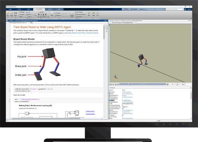 Figure 6. Apprendre à un Robot à marcher avec Reinforcement Learning Toolbox™