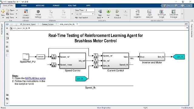 Cette vidéo montre le fonctionnement de la commande vectorielle d'un moteur PMSM utilisant le Reinforcement Learning. L'agent de Reinforcement Learning est conçu et entraîné pour remplacer les contrôleurs PI de la boucle de courant interne de l'architecture de commande vectorielle.