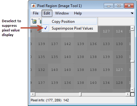 If You Would Rather Not See The Numeric Values In Display Go To Pixel Region Tool Edit Menu And Clear Superimpose Option