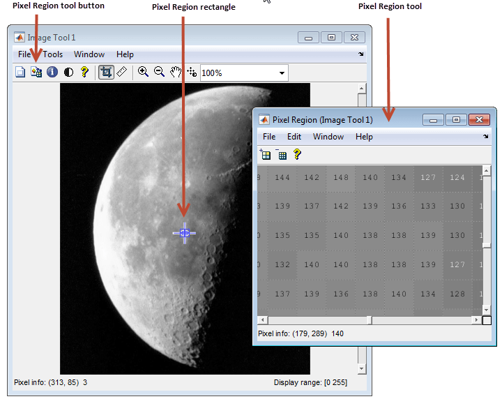 The Following Figure Shows Image Viewer With Pixel Region Tool Note How Includes Value Of Each In Display