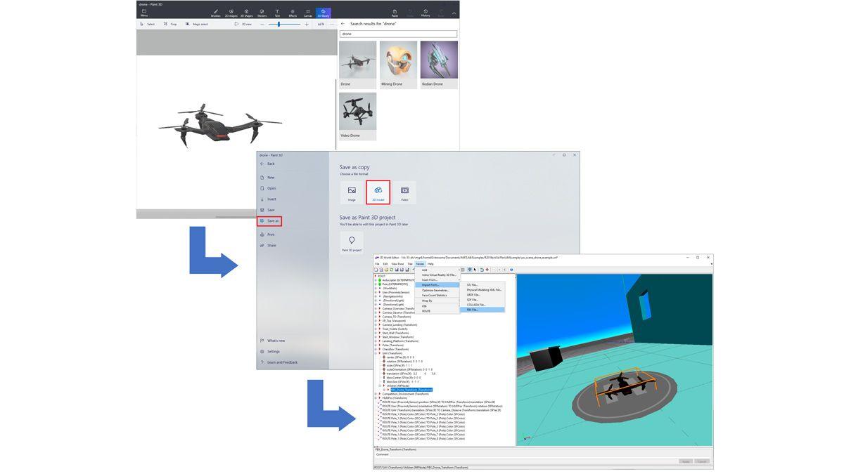 Drone importé depuis une bibliothèque Paint 3D, sauvegardé dans un fichier FBX et chargé dans un environnement virtuel.