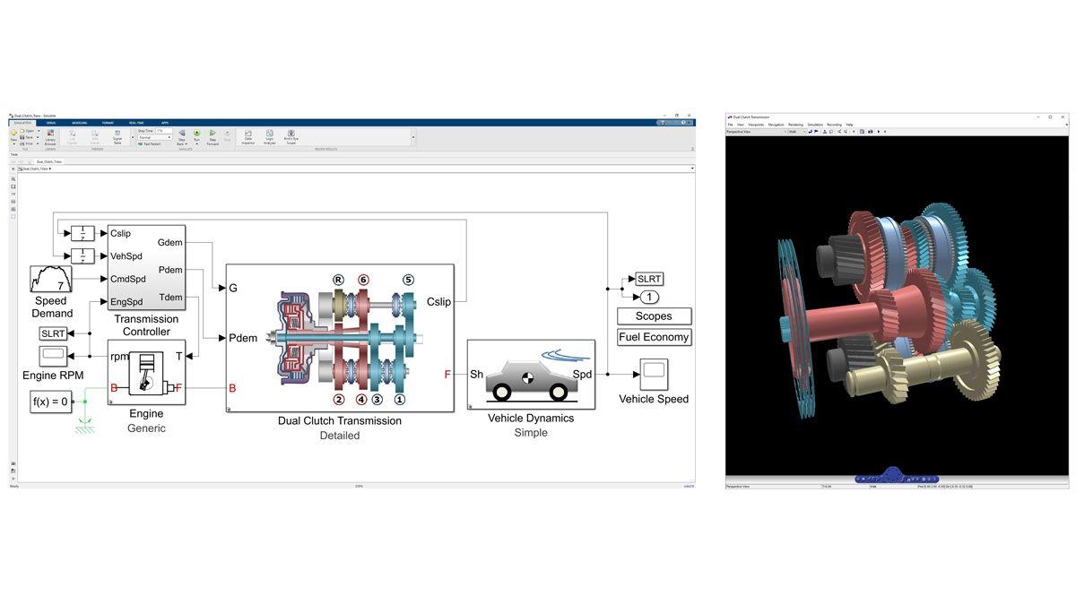 Animation3D de la dynamique d'une transmission à double embrayage modélisée dans Simscape Driveline