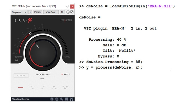 Exemple de plugin VST externe pour du débruitage audio (Accusonus ERA-N) et d'interface de programmation dans MATLAB.