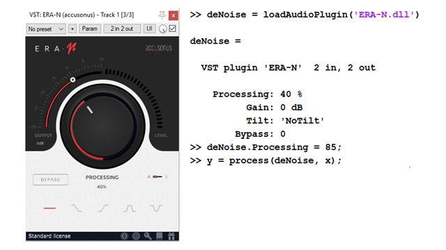 À gauche, l'interface utilisateur d'un plugin audio commercial de débruitage audio, avec un grand bouton de commande permettant de régler le niveau de suppression du bruit. À droite, quelques lignes de code montrant comment ce même plugin peut être importé et utilisé programmatiquement comme un objet MATLAB.
