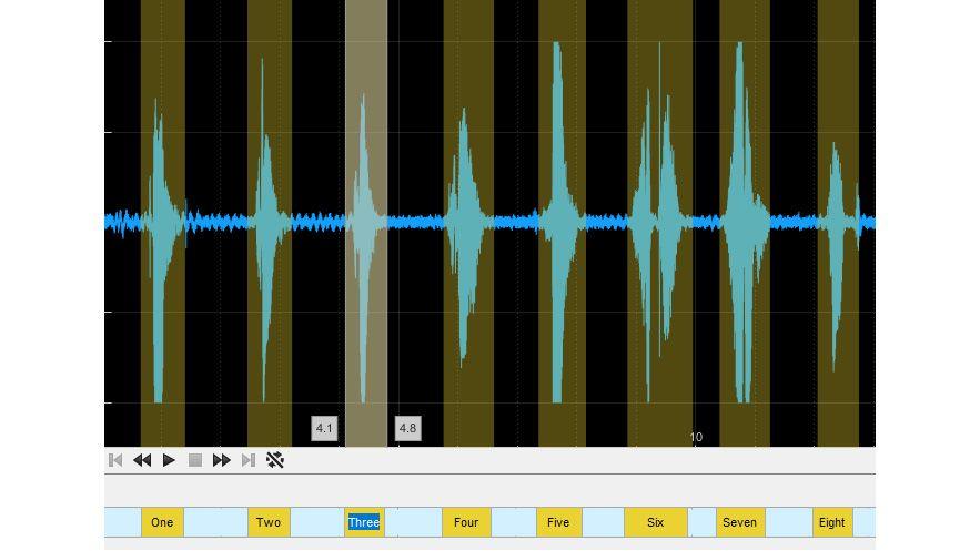Étiquettes de régions d'intérêt dans l'application Audio Labeler.