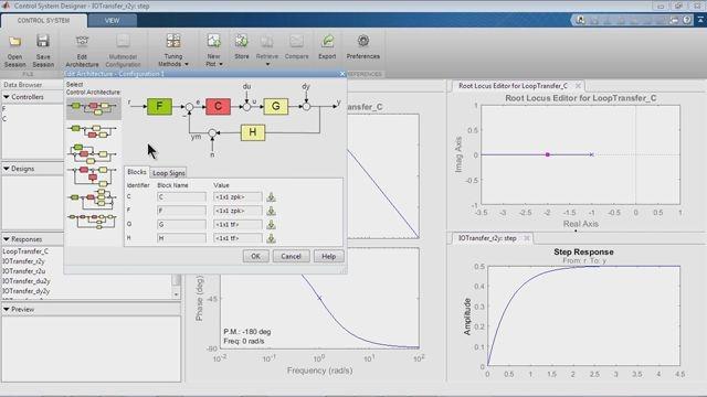 Modélisez les systèmes de contrôle à l'aide de SISO Design Tool.