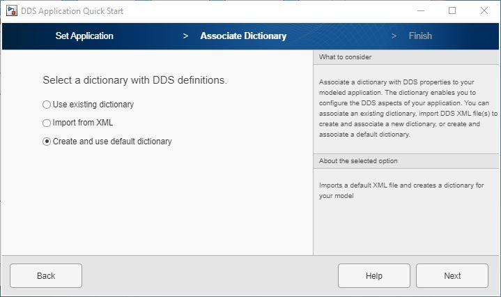 Interface utilisateur de l'application DDS Application Quick Start.
