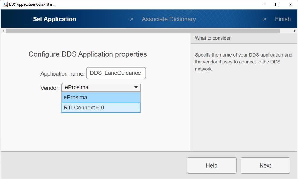 Écran de DDS Application Quick Start affichant les options de eProsima et de RTI Connext pour la sélection des fournisseurs.