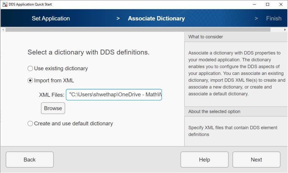 Interface d'importation de fichiers XML.