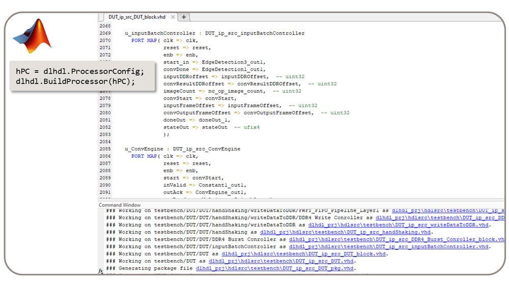 La classe dlhdl.BuildProcessor génère du RTL synthétisable à partir du processeur de Deep Learning personnalisé.
