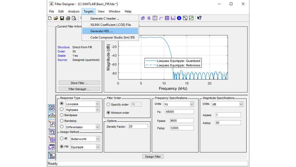 Configurez et quantifiez un filtre, puis lancez l'UI de génération de code HDL pour générer du code VHDL ou Verilog synthétisable.