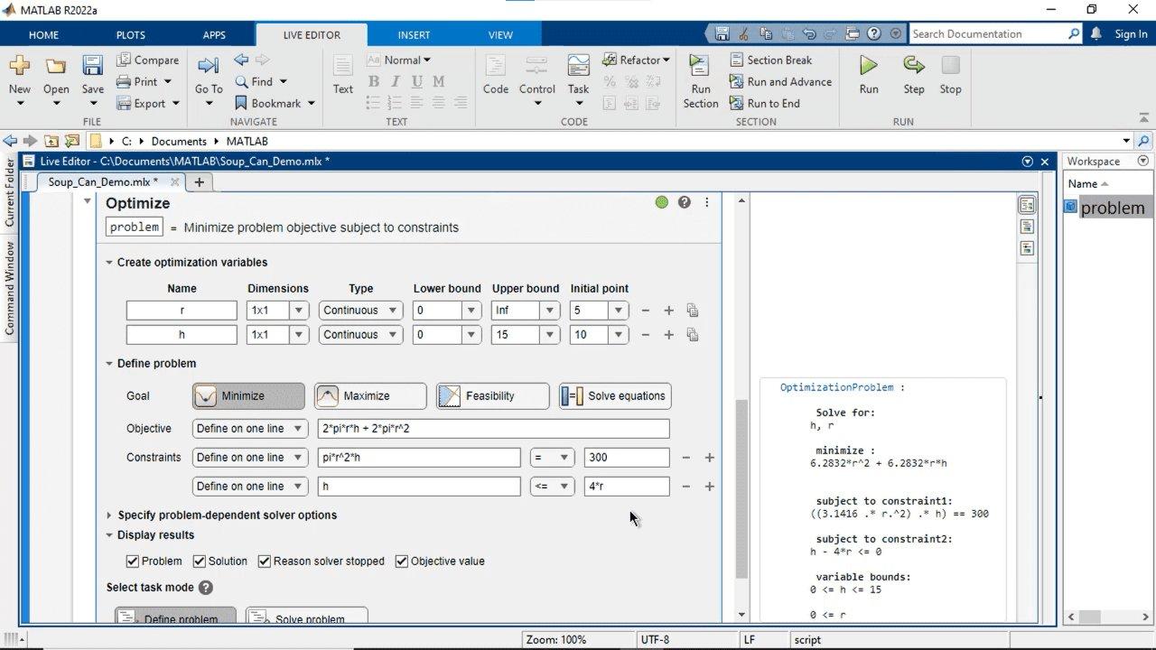 Créez et résolvez de manière interactive des problèmes d'optimisation avec MATLAB, Optimization Toolbox ou Global Optimization Toolbox en utilisant une interface visuelle. Définissez l'objectif et les contraintes, choisissez les solveurs et configurer les options.