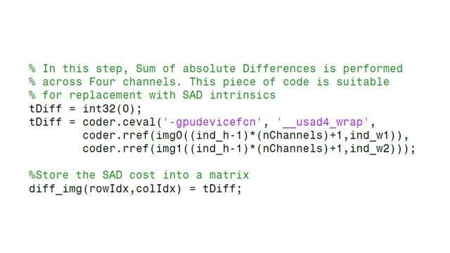Incorporation du code CUDA existant dans le code généré.