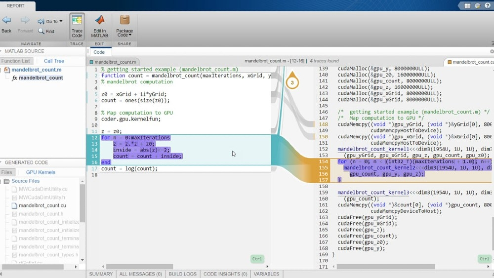 Rapport de traçabilité interactif à l'aide de GPU Coder et d'Embedded Coder.