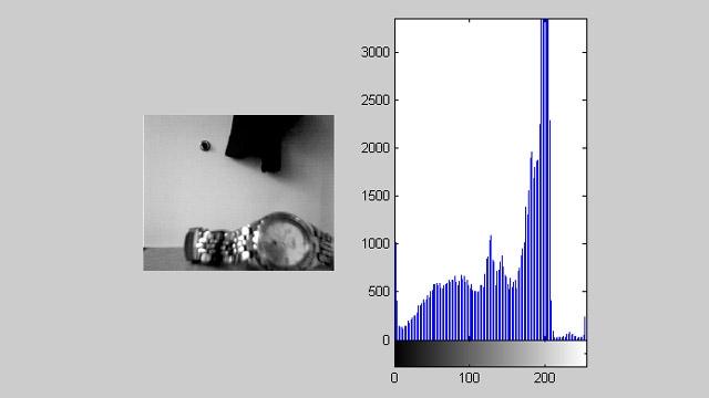 Acquisition Toolbox utilisée avec Image Processing Toolbox pour afficher un flux vidéo accompagné d'un histogramme en temps réel.