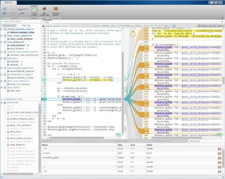 Rapport de traçabilité interactif avec MATLAB Coder et Embedded Coder.