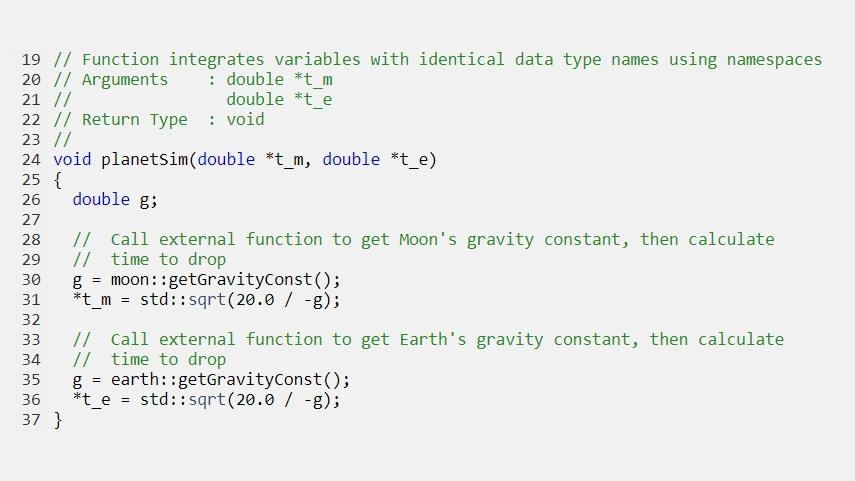 Code généré intégrant des variables avec des noms de types de données identiques en utilisant des espaces de noms.