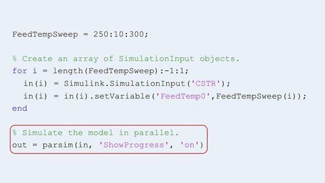 Utilisation de la fonction parsim afin d'exécuter plusieurs simulations en parallèle.