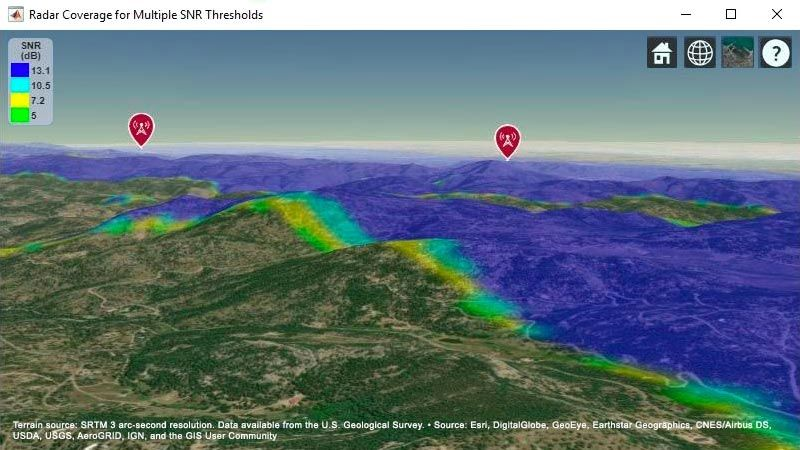 Carte avec un modèle de terrain indiquant les zones de détection des cibles pour deuxsystèmes radar.