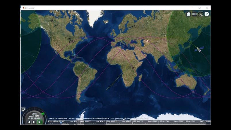 Global map depicting the ground track of an orbiting satellite and its field of view as it moves.