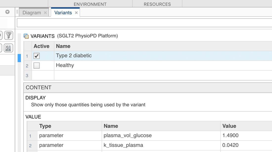 Enregistrez des valeurs de quantités alternatives comme variantes de modèle.