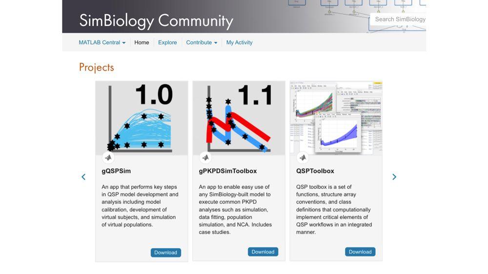 Outils proposés par la Communauté en ligne SimBiology.