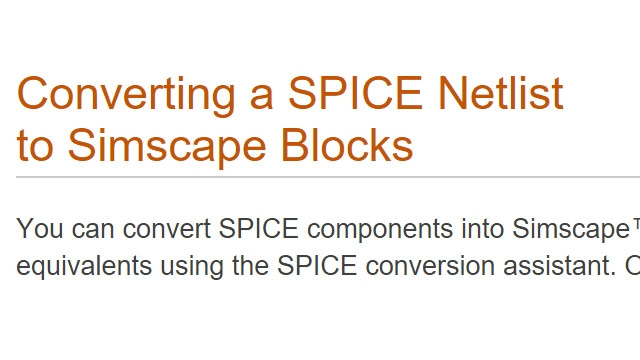 Conversion d'une liste d'interconnexions SPICE en blocs Simscape.