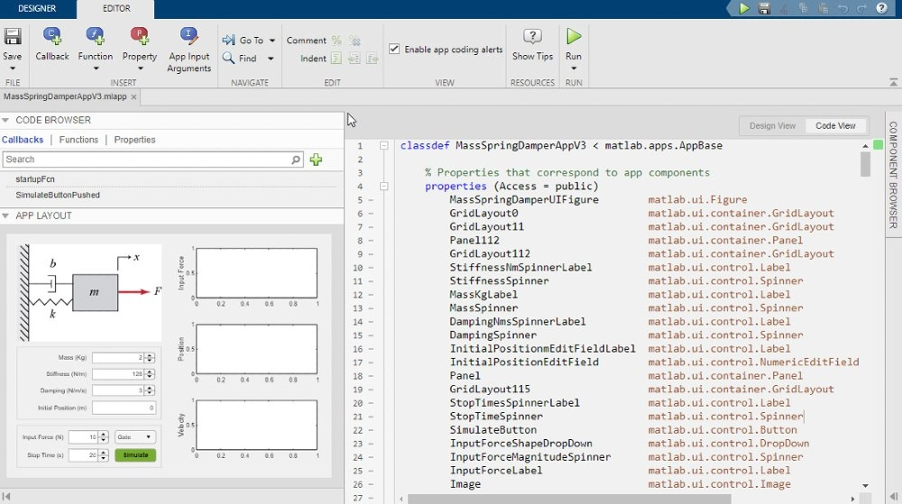 Utiliser App Designer pour concevoir l'interface utilisateur graphique de l'application de simulation.