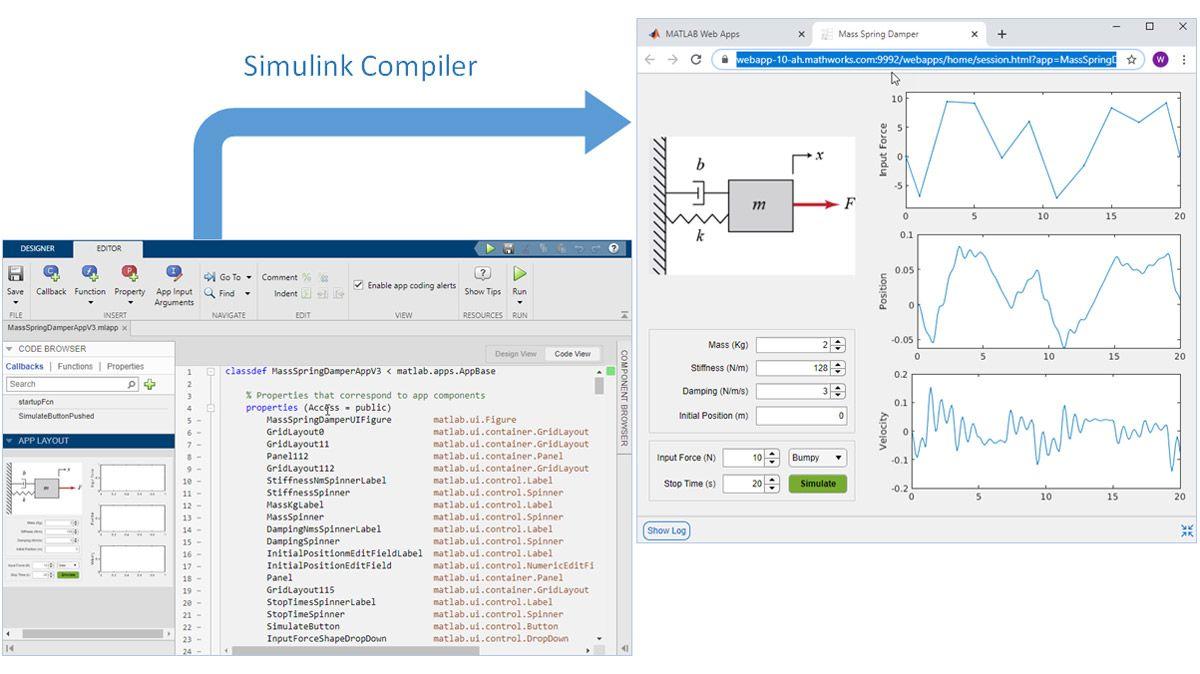 Packager l'application créée avec MATLAB App Designer sous forme d'application web.