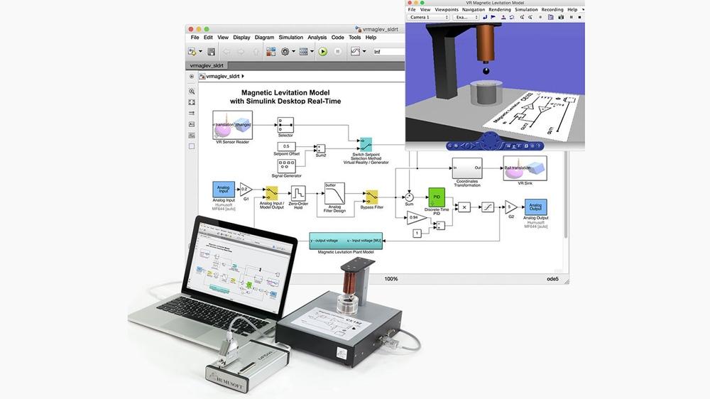 Une expérience de contrôle de lévitation magnétique. Le modèle s'interface avec le hardware externe à l'aide des blocs Analog Input et Analog Output.