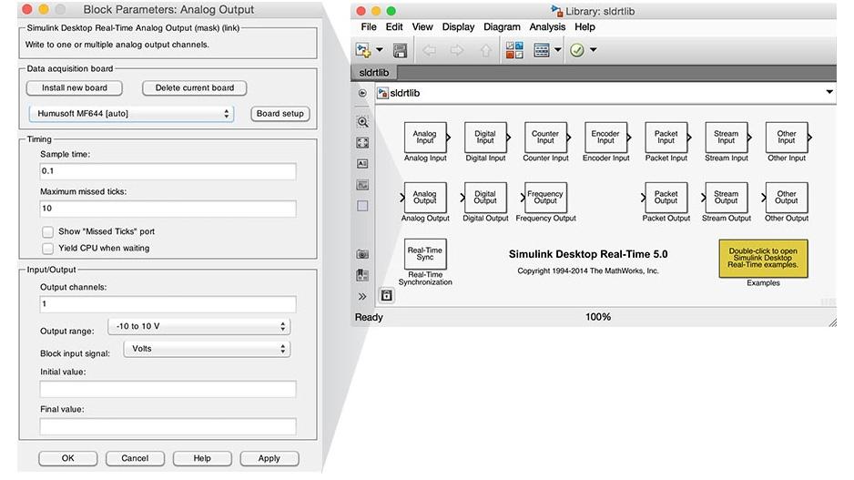 Bibliothèque de blocs de Simulink Desktop Real-Time.