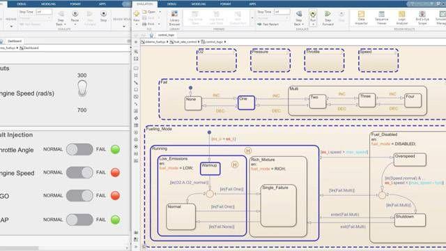 Visualisez les étapes d'une simulation et contrôlez les données dans un diagramme d'état.
