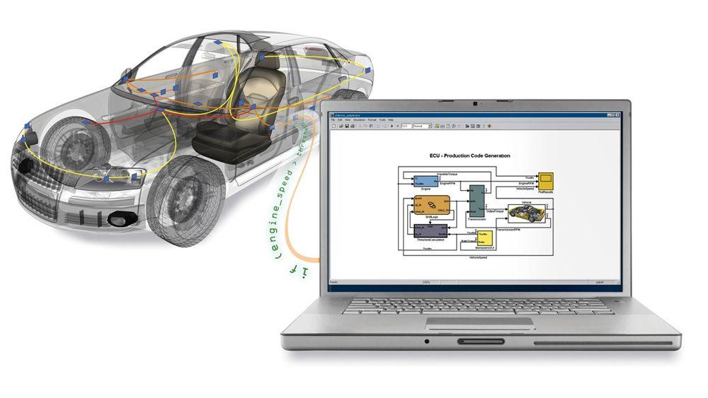 Une automobile connectée à un ordinateur portable utilisé pour accéder aux données du bus du véhicule depuis MATLAB et Simulink.