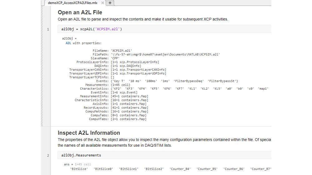 Fonction MATLAB pour analyser et inspecter un fichier A2L.