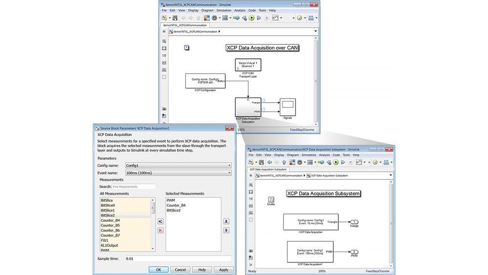 Trois fenêtres montrant un modèle Simulink et le masque du block XCP Data Acquisition pour configurer l'acquisition de données XCP.